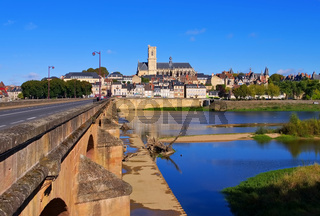 Nevers - Nevers in Burgundy, cathedral and river Loire