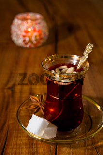 Tunisian tea in traditional glass