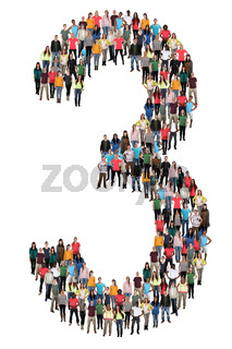 Zahl Ziffer 3 drei Leute Menschen People Gruppe Menschengruppe