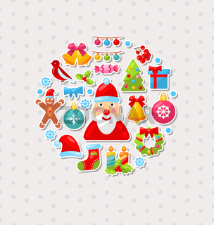 Merry Christmas Celebration Card with Traditional Elements
