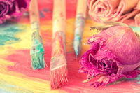 Abstract painting with dry roses