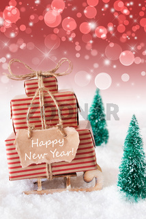 Vertical Christmas Sleigh On Red Background, Text Happy New Year