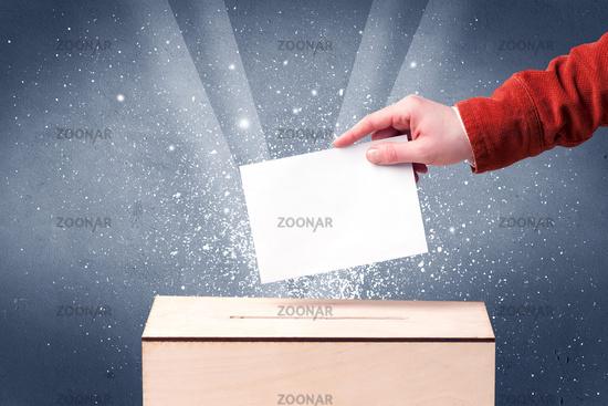 Ballot box with person casting vote