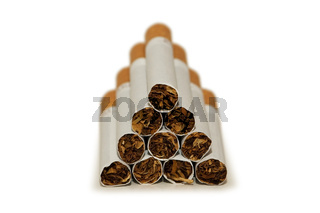 Cigarettes arranged isolated on the white background