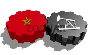 Gear with oil pump textured by Morocco flag