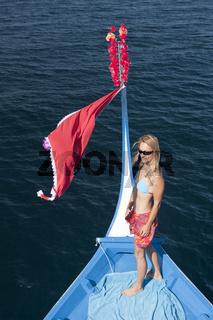 Touristin auf Dhoni