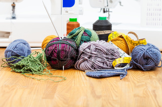 knitting tools, threads and sewing machines