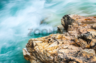 Close-up of the creek and rock in Marble Canyon, Kootenay National Park, Canada