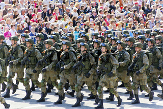 Russian soldiers march at the parade on annual Victory Day, May,