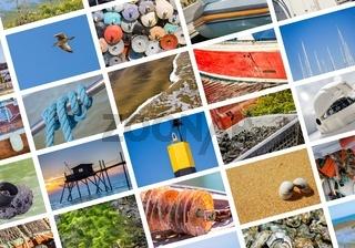 Photo collage sea, beach and boat concept