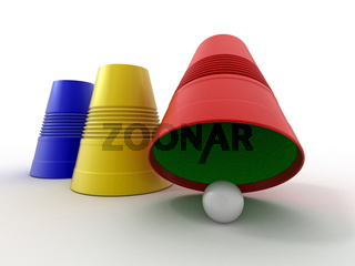 Three colored plastic cups with sphere. Right choice. 3d