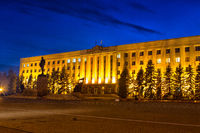 Night Lenin Square in Stavropol