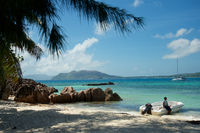 Seychelles island Curieuse with granite rocks