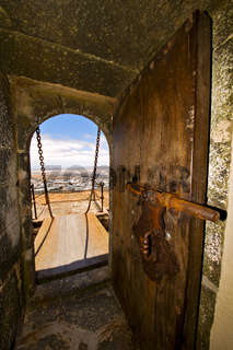 in teguise arrecife  the old wall castle  tower  door