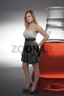 Beautiful Woman scientist in a dress