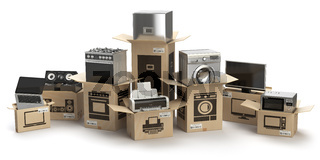 Household kitchen appliances and home electronics in boxes isolated on white. E-commerce, internet online shopping and delivery concept.