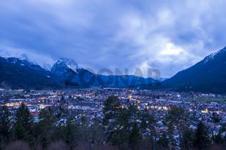 View to Garmisch-Partenkirchen at evening
