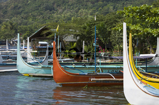 Boot auf dem Taal-See, Philippinen, Outrigger on Lake Taal, Philippines