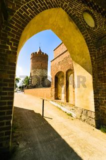 Pulverturm und Berliner Tor in Mittenwalde, Landkreis Dahme-Spreewald, Brandenburg, Deutschland
