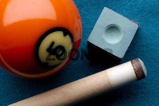 Pool ball, cue stick and chalk
