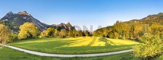 Spring alpine panorama at sunset