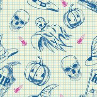 Halloween pattern, hand drawn sketch