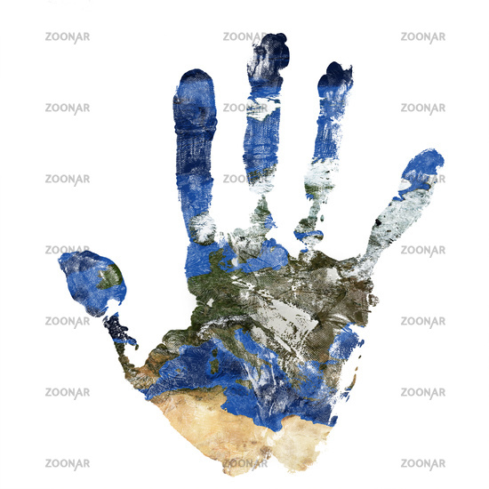 Real hand print combined with a map of Europe of our blue planet Earth. Elements of this image furnished by NASA