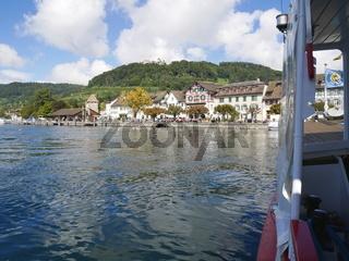Blick vom Rheinschiff MS Konstanz auf Stein am Rhein,Schaffhausen,Schweiz