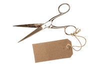 Metal scissors with blank tag,isolated