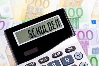 Euro Geldscheine mit Taschenrechner