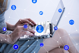 Internet of things concept with businesswoman