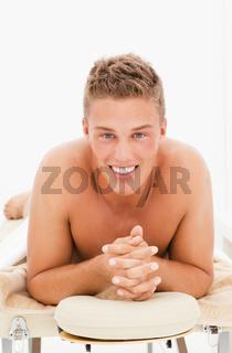 Undressed handsome blond man