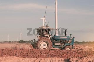 Tracktor on a fields.