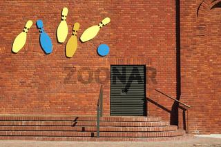 bowling club. brick wall