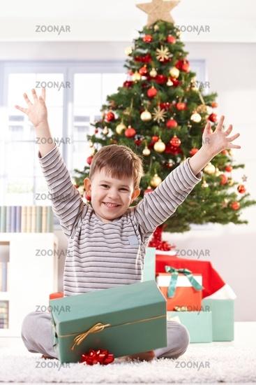 Happy kid raising arms at christmas