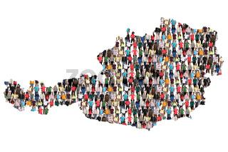 Österreich Karte Leute Menschen People Gruppe Menschengruppe multikulturell