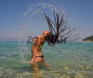 Splashing Girl Water Sea Hair