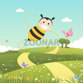 Happy bee flying on a spring day