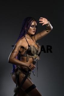 Horsewoman with African braids in underwear