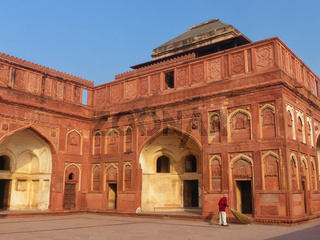 Interior courtyard of Jahangiri Mahal in Agra Fort, Uttar Pradesh, India