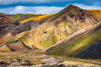 Multi-colored mountains from mineral rhyolite