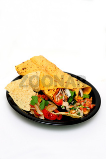Chicken Wrap With Salsa And Chips