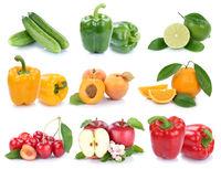 Obst und Gemüse Früchte Apfel Orange Paprika Farben frische Collage Freisteller freigestellt isoliert