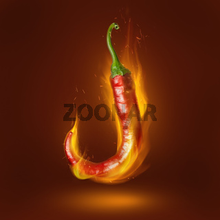 Red hot chili pepper with flame
