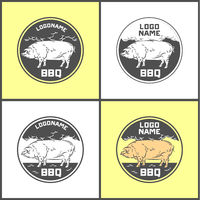 Set of Pig farm fresh pork meat emblems design , logo, label, symbol.Vector illustration