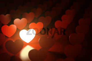 Valentine's day background. Love concept. One glowing heart in a row of red hearts.
