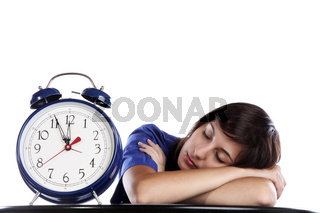 Conceptual Photo Of A Pretty Woman Sleeping Over Time