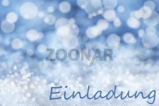 Blue Bokeh Christmas Background, Snow, Einladung Means Invitation