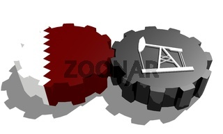 Gear with oil pump textured by Qatar flag
