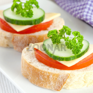 Brot mit Tomate und Kaese / bread with tomato and cheese